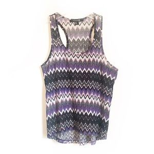 Forever 21 Purple White and Black Racerback Tank